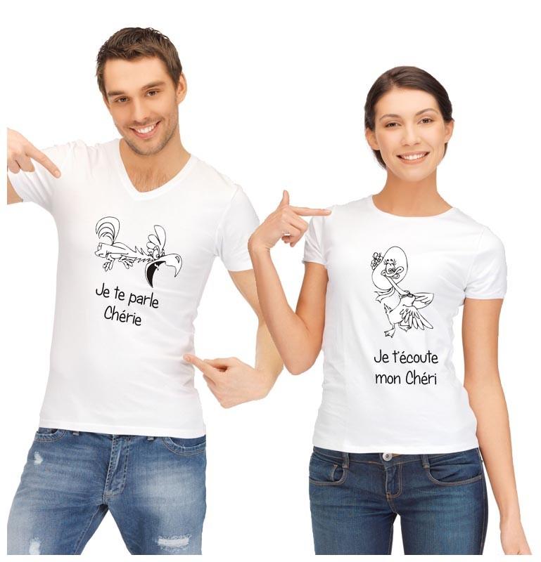 un tee shirt duo original et rigolo pour madame et. Black Bedroom Furniture Sets. Home Design Ideas