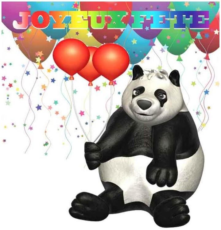Sticker panda et ballons