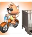 sticker chat et moto