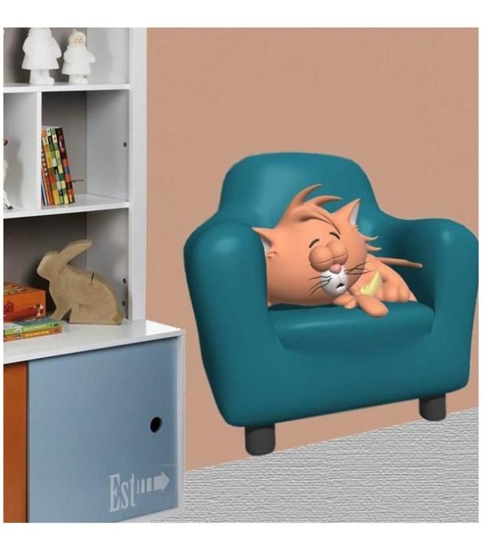 sticker chat dans un fauteuil