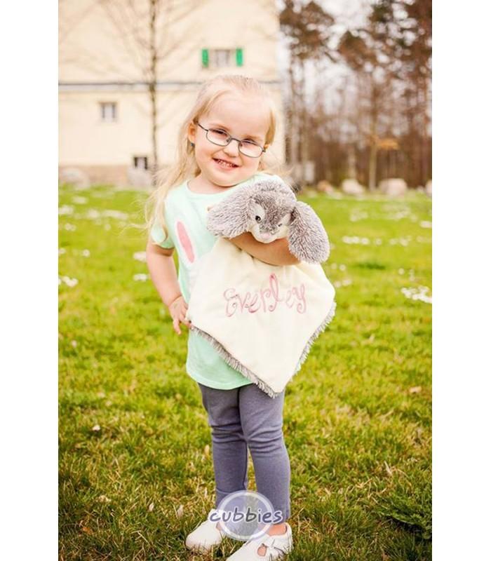 Doudou lapin brodé