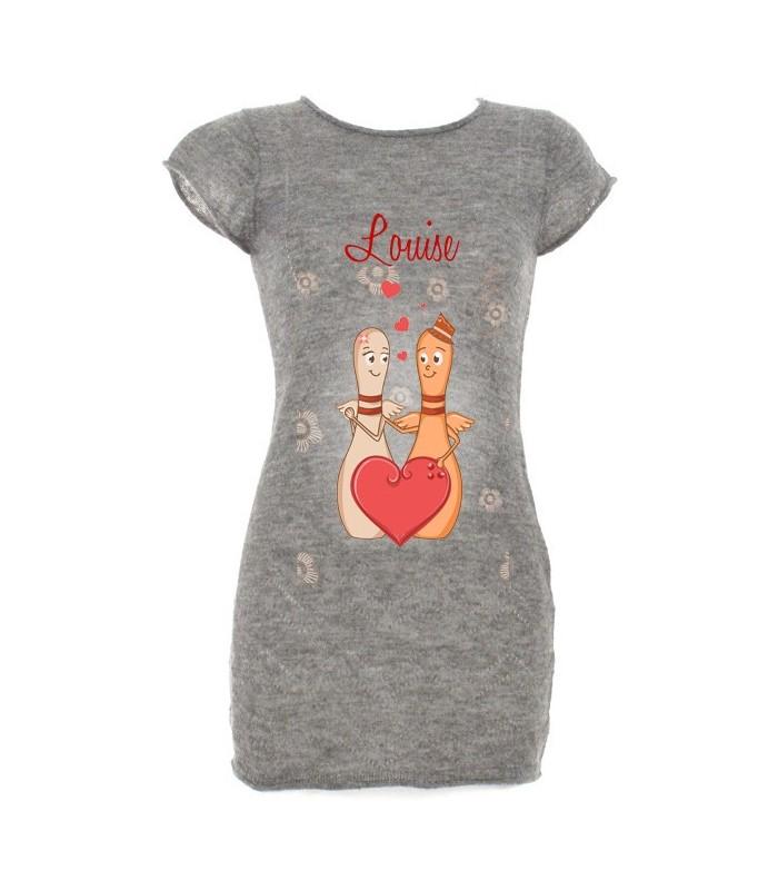 Pyjama tunique femme coeur