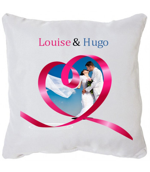 Coussin personnalise mariage motif coeur