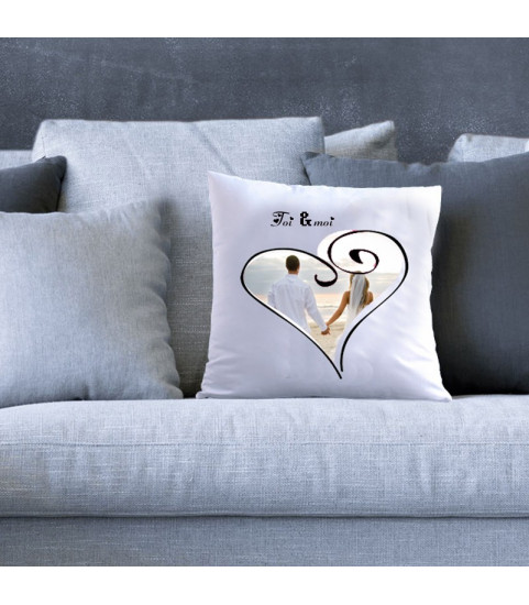 Coussin personnalise mariage coeur