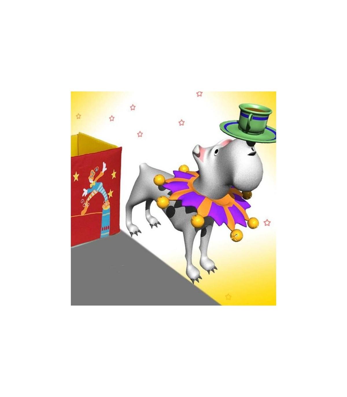 Sticker chien jongleur