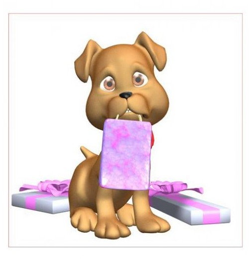 Sticker chien paquet cadeau