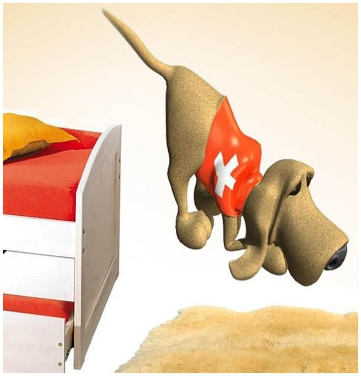 Sticker chien croix rouge