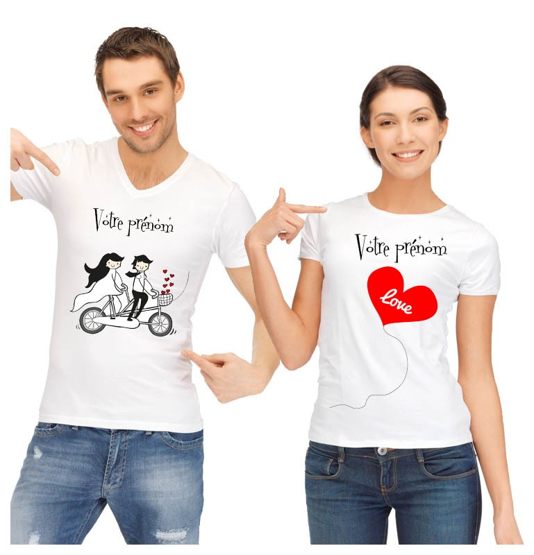 tee shirt pour le couple cadeau couple duo amoureux tee. Black Bedroom Furniture Sets. Home Design Ideas