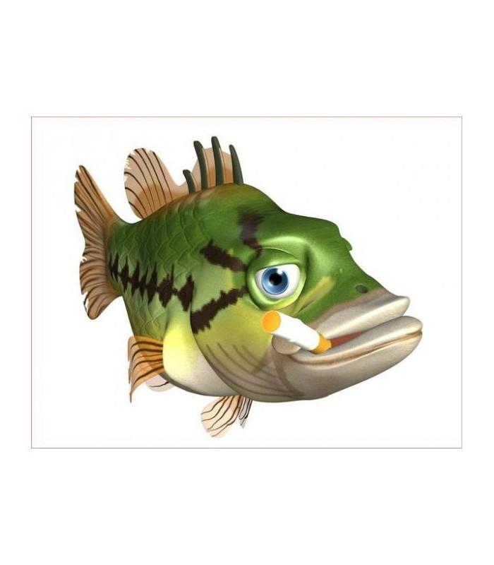 Sticker gros poisson vert