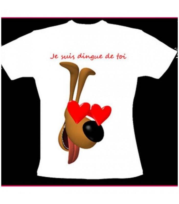 tee shirt avec chien et coeur