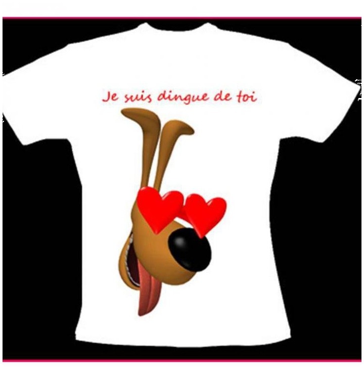Tee shirt chien et coeur