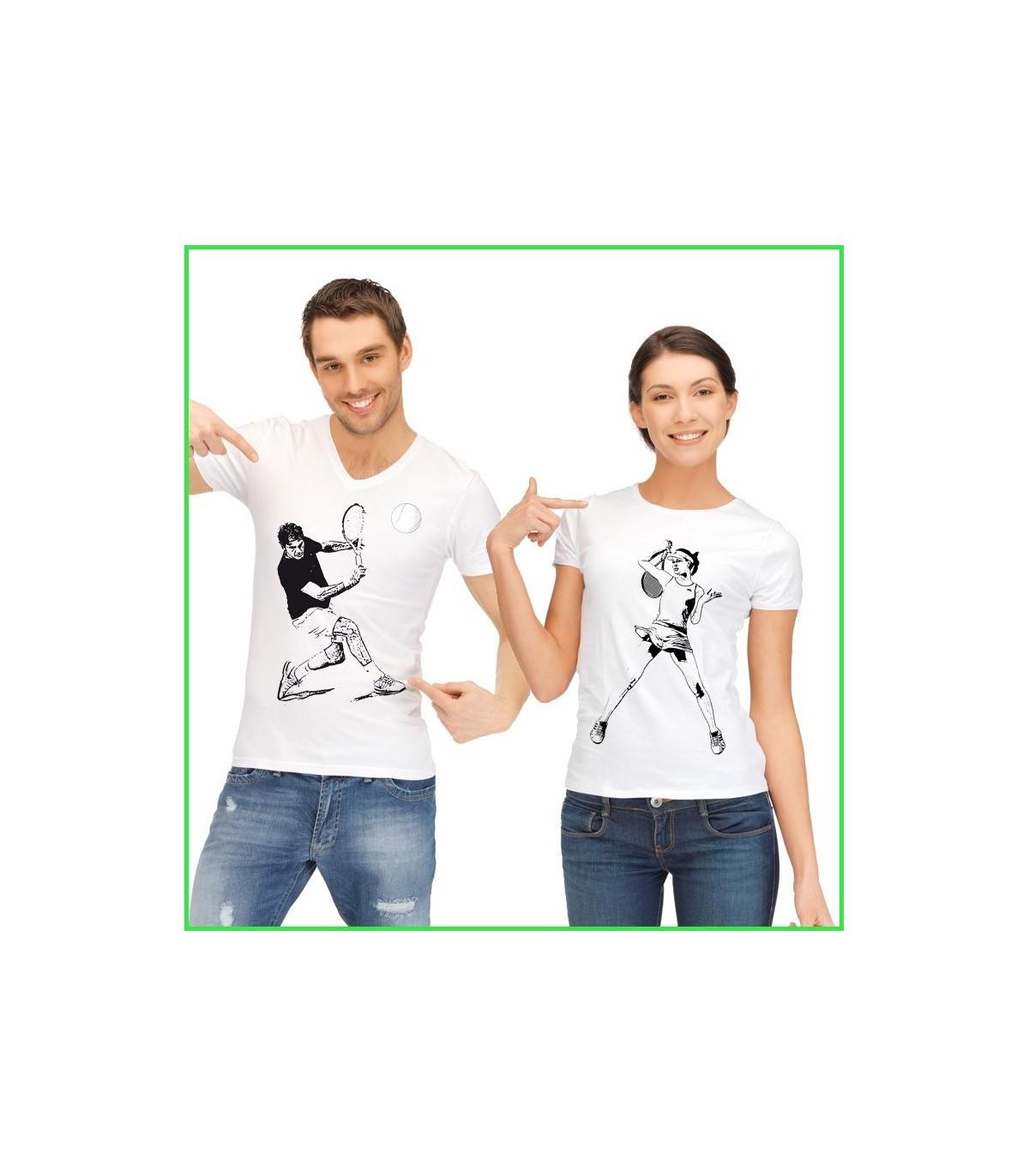 tee shirt couple tennis personnalisé