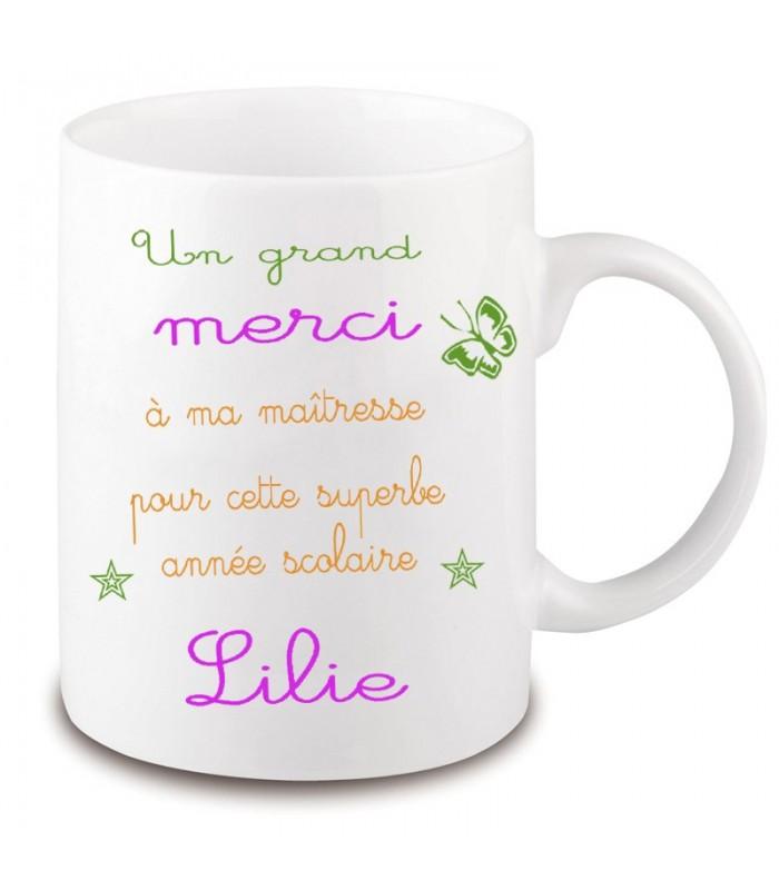 Cadeau ma/îtresse Mug /à personnaliser avec votre pr/énom merci ma/îtresse Cadeau personnalis/é fin dann/ée scolaire ma/îtresse