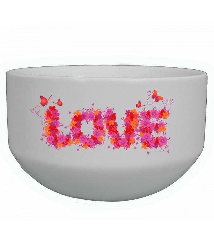 bol blanc pour les amoureux bol avec motif fleurs tr s joli pas cher. Black Bedroom Furniture Sets. Home Design Ideas