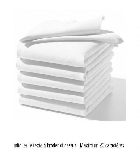 Serviette de table mariage brodée blanche