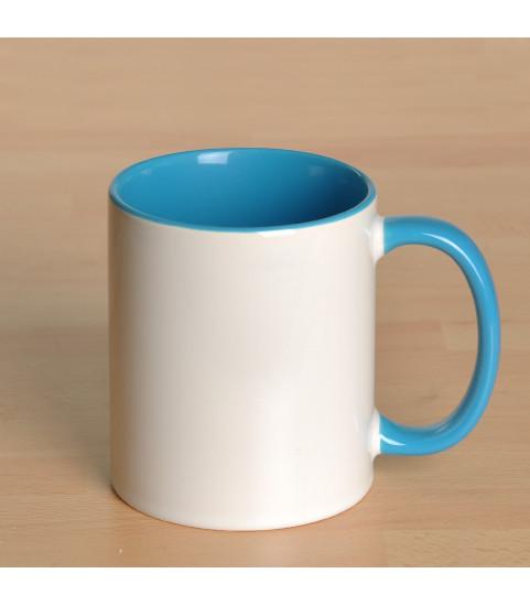 Mug personnalisé avec photo contour bleu ciel