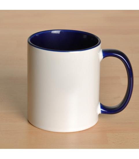 Mug personnalisé avec photo contour bleu marine