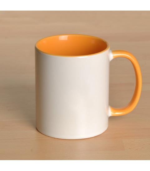 Mug personnalisé avec photo contour jaune