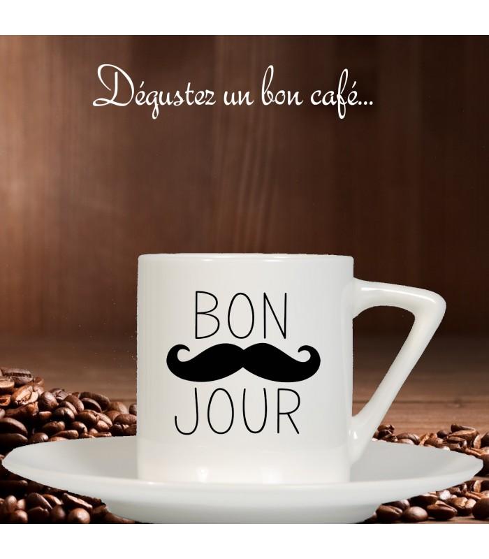 Tasse à café bonjour