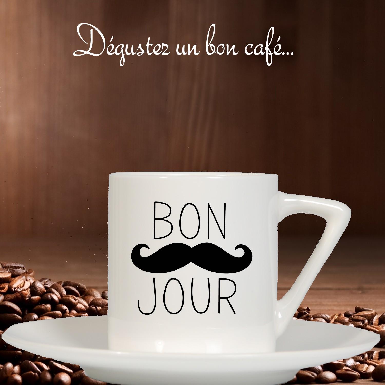 tasse caf originale pour dire bonjour le matin petit cadeau caf. Black Bedroom Furniture Sets. Home Design Ideas