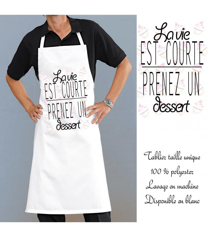 Tablier de cuisine original motif dessert cadeau pratique - Cadeau original cuisine ...
