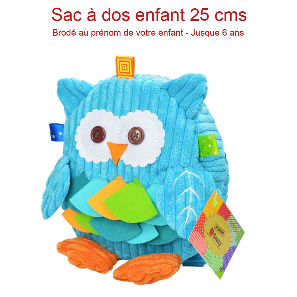 sac dos enfant motif hibou couleur bleu cadeau enfant pas cher. Black Bedroom Furniture Sets. Home Design Ideas