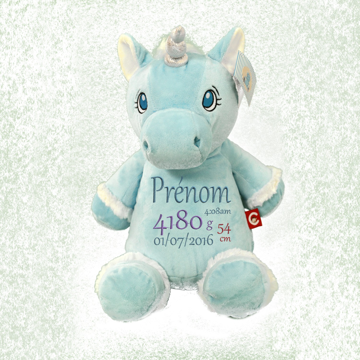 peluche licorne bleue personnalis e avec broderie pr nom enfant cadeau. Black Bedroom Furniture Sets. Home Design Ideas