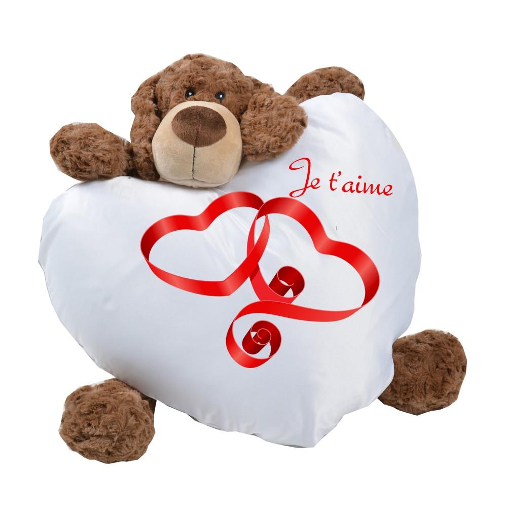 cadeau personnalis homme et femme coussin coeur blanc avec photo. Black Bedroom Furniture Sets. Home Design Ideas