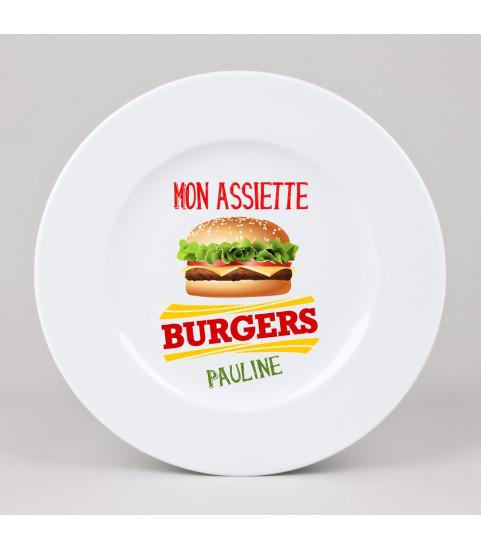 Assiette hamburger personnalisée