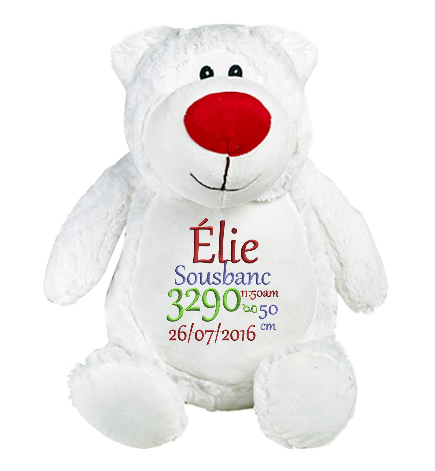 Ours blanc peluche brodé