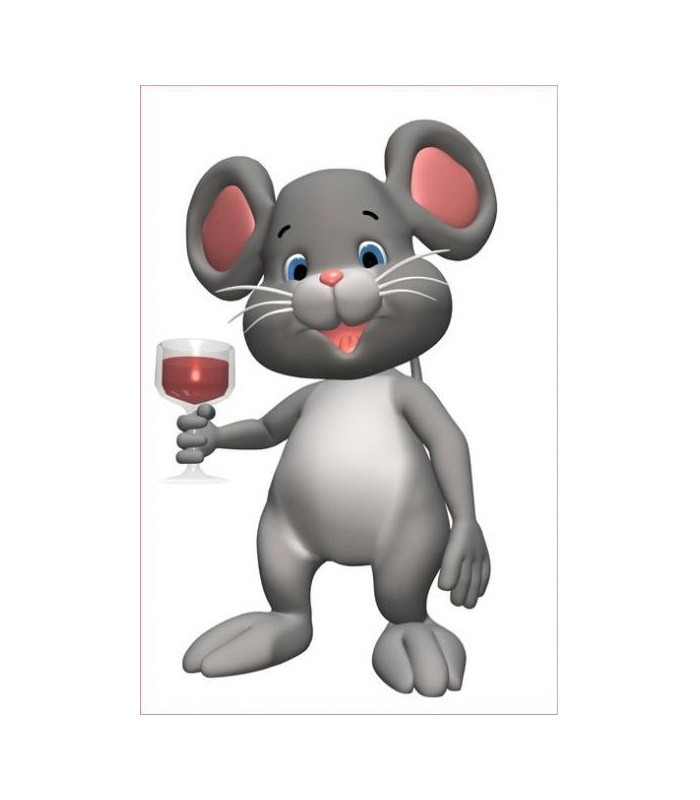 sticker souris et verre de vin