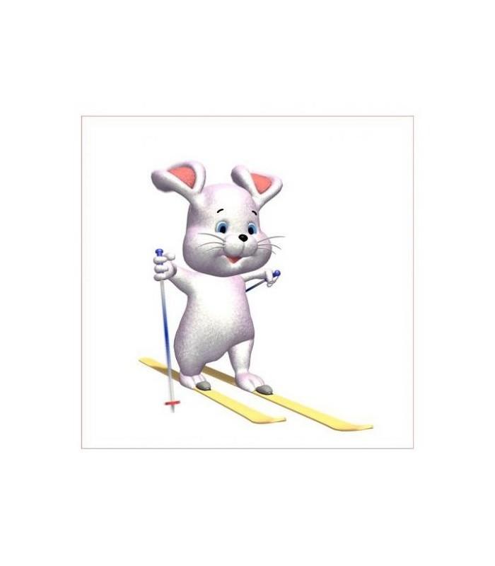 sticker souris skieuse