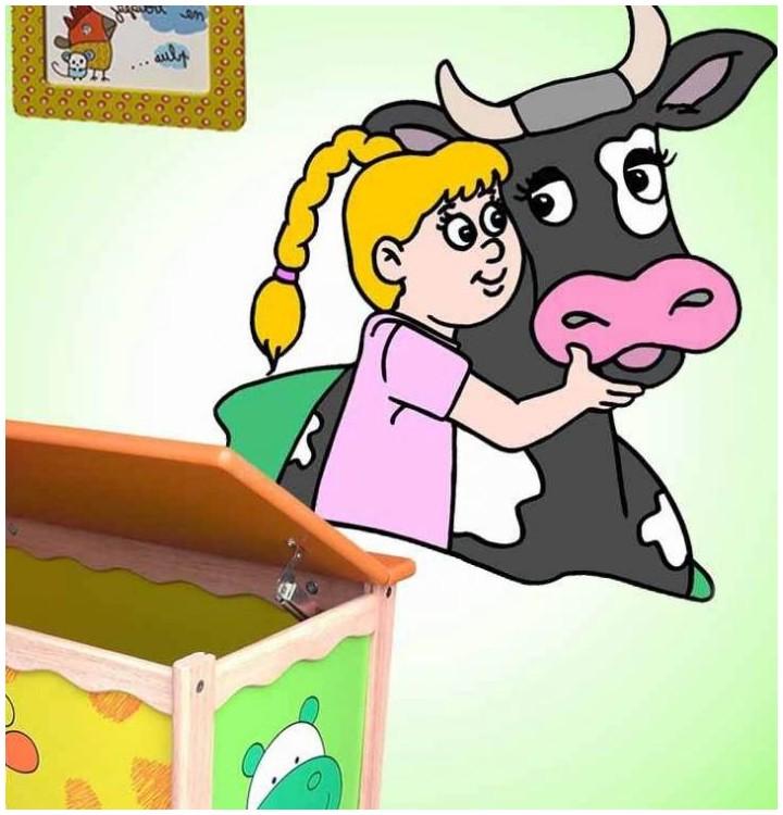 Sticker fille et vache