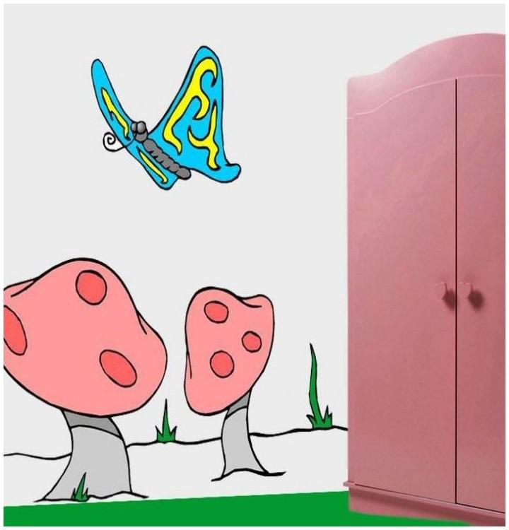 Sticker champignons et papillons