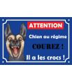 Plaque metal danger chien