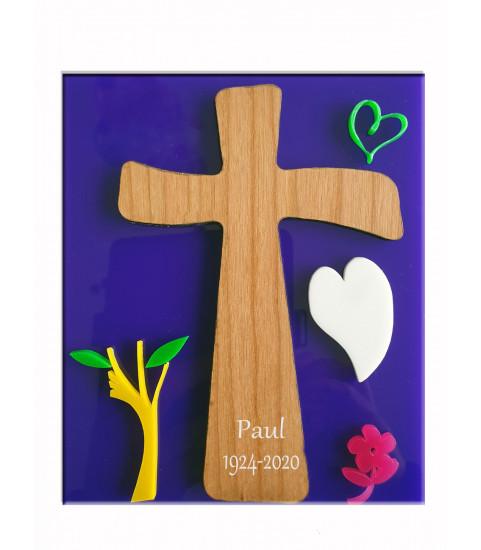 Plaque croix jesus à graver