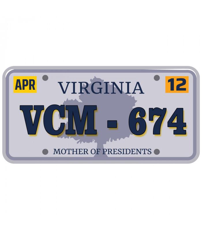 Plaque US Virginia personnalisée