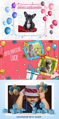 carte puzzle photo anniversaire