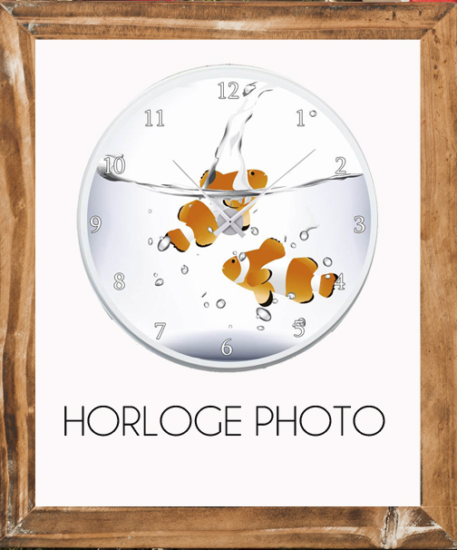 horloge avec photo poissons